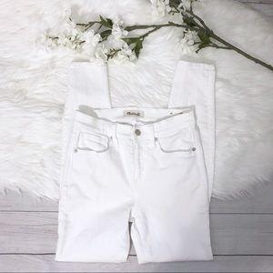 "[Madewell] 9"" High Rise Skinny Jeans White"